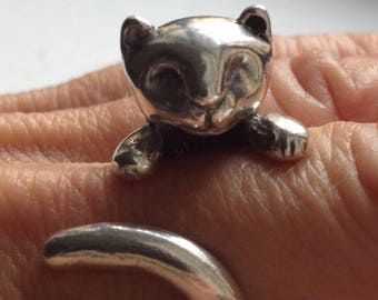 Cat shaped Silver Ring