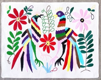 Beautiful Otomi embroidery from Tenango de Doria. Mexican textile. Mexican folk art