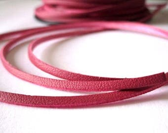 5 m suede effect - fuchsia - 2 mm leather cord