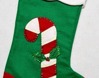 """Hand made 20"""" green felt appliqué candy cane Christmas Stocking with sequins"""
