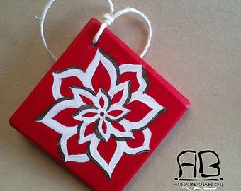 """Christmas decoration """"snow flowers"""" in painted wood (var. red)"""
