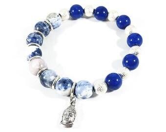 Blue Ridge Buddha~Handmade Bracelet~Sodalite Bracelet~Lapis Lazuli Jewelry~Buddha Charm~Buddhism Bracelet~Yoga Jewelry~Spiritual Gift
