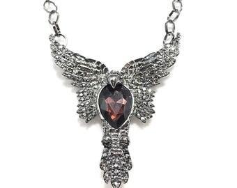 The Raven~Marcasite Pendant Necklace~Raven Pendant~Silver Marcasite Necklace~Bird Lovers~Gift for Her