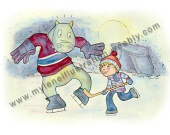 Watercolor print, hockey player Monster