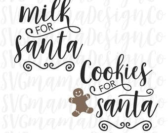 Milk And Cookies For Santa SVG Cut File for Cricut and Silhouette