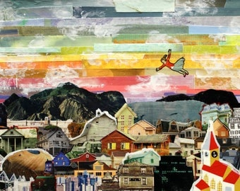 "Flying Dream Memories 8x10"" Collage Art Print - Flying Over City Art - Unique Kids Room Art Print - Colorful Art Print"