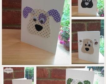 Handmade Dog Themed Cards, Dog Lovers Card, Handmade Fabric Cards, Handmade Cards