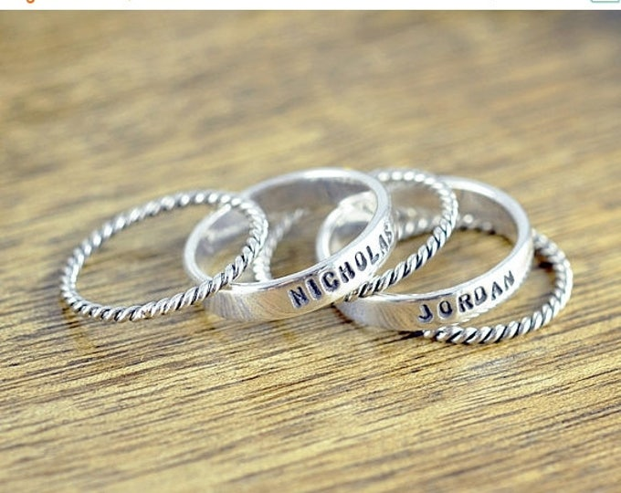 10% off SALE Kids Name Jewelry - Stackable Name Rings - Personalized Stacking Ring - Gift for Mom -  Name Rings  - Mothers Jewelry - Mothers