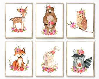 Girl Woodland Nursery Print Set. Floral Woodland Nursery Decor. Girl Forest Animals Wall Art. Woodland Nursery art. Digital Prints. Nursery