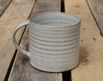 Handmade Ceramic Mug *Ready to Ship* Hand crafted pottery mug with a white speckled stoneware glaze