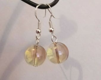 Imperial Gold Aura Quartz Sphere Earrings/Sterling Silver Hooks