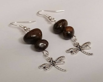 Bronzite Gemstone Dragonfly Earrings/Sterling Silver Hooks