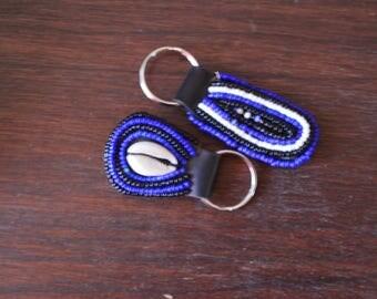 African Maasai Beaded KeyChain | Blue Black beaded KeyHolder | Handbag Tassel Keychain | Leather Keychain| Sea Shell Keychain | A Set Of 2