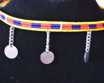 African Maasai Beaded  Choker Necklace |  African Beaded Necklace | Tribal Jewelry |  Charm Necklace | Yellow Choker Necklace | Gift For Her