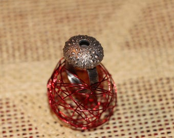 """Metallic Sea Urchin"" ring"