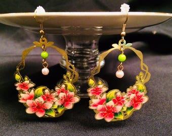 Pink, Green, and Gold Filigree Dangle Earrings; Drop Earrings, Filigree Earrings, Dangle Earrings, Statement Earrings, Laser Cut Earrings