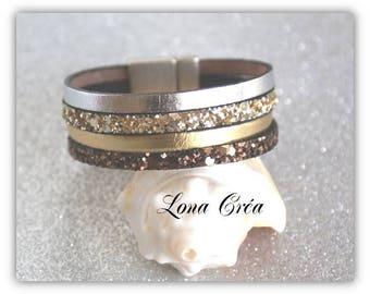 Glittery gold, silver leather, Cuff Bracelet, Bronze clasp in Zamak silver, Christmas gifts