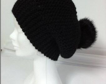 Wool Hat Black Alpaca with faux fur Pom Pom
