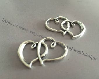wholesale 100 Pieces /Lot Antique Silver Plated 30mmx20mm double heart connector charms (#078)