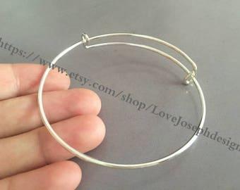 100pieces bright silver plated Adjustable 64mm Bangle Wire Bracelet Expandable Bangle Bracelets (# 0167)