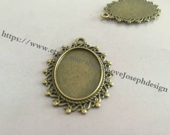 10 Pieces /Lot Antique Bronze Plated 18mmx25mm cabochon trays charms (#0302)