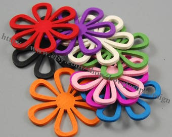 wholesale 50pieces Colorfull hollow Flower wood 45mmx50mm earring hollow Flower Wooden connector Charms(#0408)