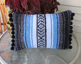 Mexican Blanket Pillow Cover w/ Pom Poms