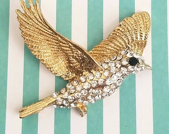 52mm alloy pendant bird cabochon rhinestone crystal gold plated charm necklace decoden embellishment jewelry accessory deco phone case
