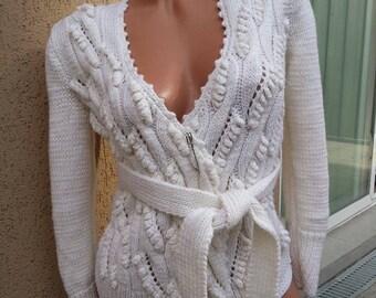 Cardigan . Handmade knitted vest . Elegant white vest.Ladies cardigan handmade.