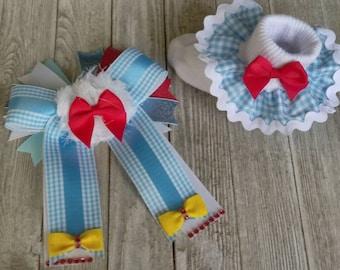 Movie hair bow, Dorothy hair bow, Wizard of Oz inspired hair bow, Costume hair bow and sock set, large hair bow, blue gingham hair bow