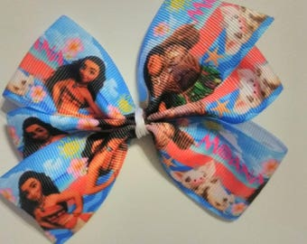 "Moana inspired hair bow, Character hair bow, 4"" bow, Island hair bow, birthday bow, princess hair bow, Moana and Maui inspired pigtail bow"