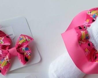 Character hair bow set, Pink Elmo bow, character headband, Elmo ruffle socks, baby hair bow, Sesame Street hair bow set, baby ruffle socks