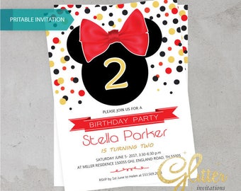 Minnie Mouse birthday invitation,digital printable pdf,Girl birthday invitation,