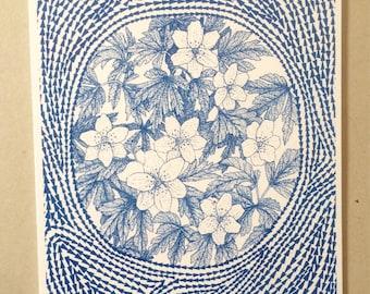 Wood anemone risograph print