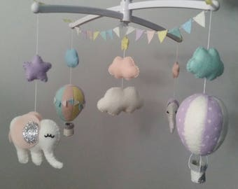"Elephants and hot air balloon mobile ""Sarah"""