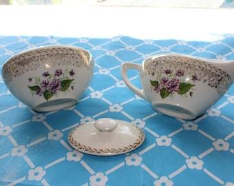 Cream and sugar in Spring Violet by CUNNINGHAM & PICKETT