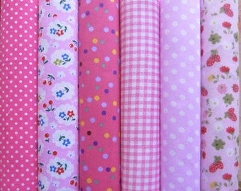 Set of 6 coupons patchwork fabric cotton seam 45 X 45 cm shades ROSE 0108