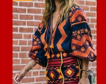 Vita Kin Style, Vyshyvanka embroidered blouse, Boho,  Ukrainian vyshyvanka, Ukrainian Embroidery, Linen Blouse,  Bohemian style, Ethno top,