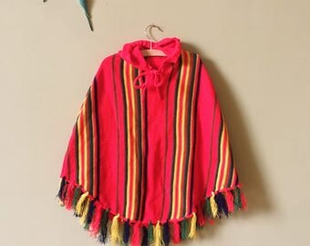 Vintage childrens clothes poncho / vintage kids. Childs knitted cape. Shawl. Hooded. Red striped. Festival, beach. Age 5 years - age 6 years