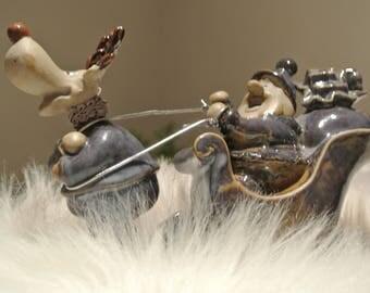 Hand painted pottery Santa Claus - reindeer-