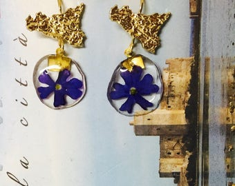 Earrings with Sicily and real flowers