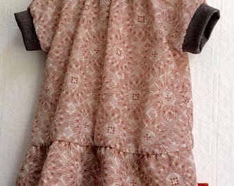 Dress baby toddler indoor red of rose with fine pattern