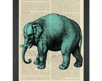 Circus blue elephant Dictionary Art Print
