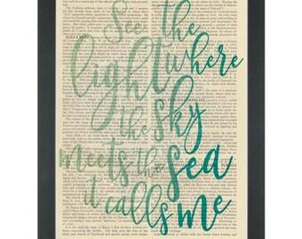 Moana Where the sky meets the sea Dictionary Art Print