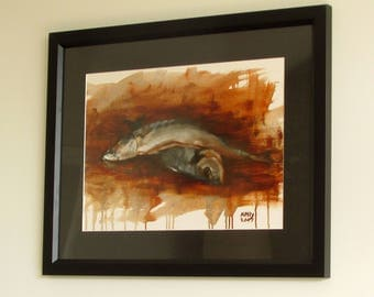 A pair of fish, Original Oil Painting, One of a kind