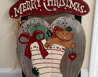 Farm House Folk Wall Decor - Rustic Wood Sled - Merry Christmas - JDI Inc. CA
