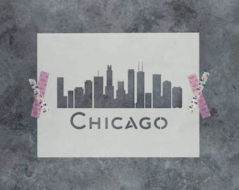 Chicago Skyline Stencil - Reusable DIY Craft Stencils of the Chicago Skyline