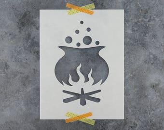 Cauldron of Witches Brew Halloween Stencil - Reusable DIY Craft Halloween Stencils of a Cauldron of Witches Brew