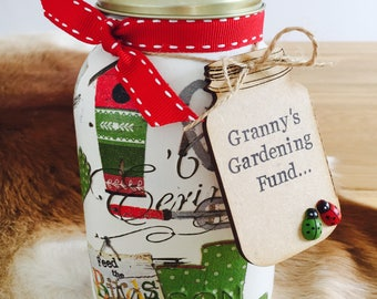 Handmade Gardening Mason Jar with Personalised Wooden Mason Jar Tag