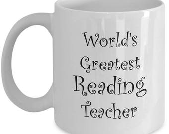 Reading Teacher Gifts Mug For Men Women Elementary Teachers - Coffee Mugs are Best Christmas Gift or End of Year Gift Idea - 11 oz Tea Cup